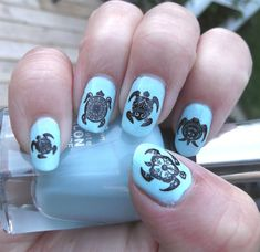 Your place to buy and sell all things handmade Turtle Nail Art, Turtle Nails, Tribal Turtle, Animal Nail Art, Ceramic Pendant, Nail Decals, Blue Nails, Nail Arts, Nails Inspiration
