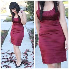 BCBGMAXAZRIA Merlot Red Woven Cocktail Dress BCBGMAXAZRIA Merlot/Burgundy Red Tiered Satin Dress. Worn once. This would be great to wear to a wedding or to wear on a date for Valentine's Day! NO PAYPAL OR TRADES.                                                                 Blog: willbakeforshoes.com Twitter: @willbakeforshoe Instagram: @willbakeforshoes BCBGMaxAzria Dresses