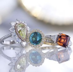 Fancy Intense Yellow Green Diamond Ring, Tourmaline and Diamond Ring 2.86 Carats & Fancy Deep Brown Orange Diamond Ring 3.38 Carat ~ Unique Engagement Rings, Valentines Day Rings, Fancy Diamond, Rare & Important Jewels, Colored Gemstones ~ M.S. Rau Antiques