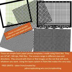 "FREE GRATIS templates for making papel picado 300 dpi 10"" x 8"""