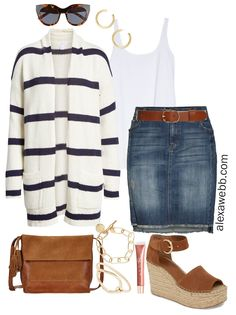 Awesome Plus Size Striped Cardigan Outfit - Plus Size Spring Casual Outfit Idea - Plus S. - Women's Jewelry and Accessories-Women Fashion Cardigan Outfits, Dress With Cardigan, Striped Cardigan, Skirt Outfits, Summer Cardigan Outfit, Oversized Cardigan, Outfit Summer, Spring Outfits, Winter Outfits