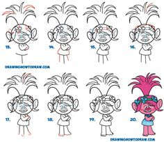 Learn how to draw the Pink Troll Poppy from the Trolls Movie in Easy Steps Drawing Lesson for Kids and Beginners