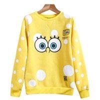 Wish | Sheinside Yellow Long Sleeve SpongeBob Print Sweatshirt One Size (Color: Yellow)