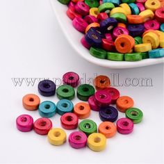 200PCS Mixed Lead Free Flat Round Wood BeadsX-YTB021-1