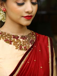 Shop for a variety of blouses in high neck, sleeveless, boat neck, sleeveless, embroidered & more online. Kerala Saree Blouse Designs, Saree Blouse Patterns, Designer Blouse Patterns, Bridal Blouse Designs, Blouse Neck Designs, Design Patterns, Work Blouse, Hand Embroidery, Zardosi Embroidery
