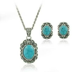 Retro Elegant Women Turquoise Jewelry Sets