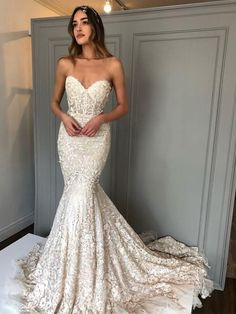 Ivory lace Sweetheart Strapless Mermaid Charming Wedding Dresses, Mermaid Lace Wedding Dress Long Sleeves, Bridal Gown ,Dresses For Brides Western Wedding Dresses, Luxury Wedding Dress, Classic Wedding Dress, Used Wedding Dresses, Designer Wedding Dresses, Bridal Dresses, Bridal Gown, Berta Bridal, Bridesmaid Gowns