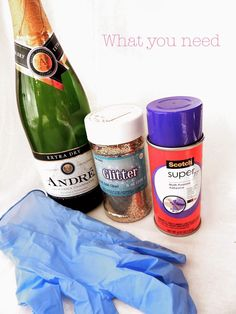 How to make glitter champagne bottles. Adhesive spray, champagne, glitter