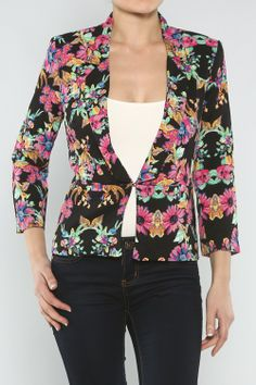 Casual Floral Blazer #wholesale #fashion #clothing #ootd #wiwt #shopitrightnow #jeans #patterns #prints #dress #pants #trousers #skirts #tops #jeans #jacket #spring #floral #flower