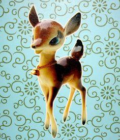 Vintage 1980s Bambi Deer Home Decor Canvas for Babys Room