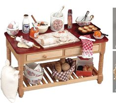 Miniature Doll House Baking Work Table Set