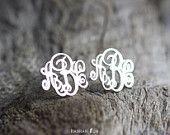 Sterling Silver Monogram stud Earrings Personalized by HannahRun