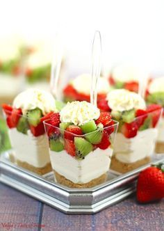 Beautiful dessert creamy cheesecake decor dessert delicious graham crackers individual dessert cups kid approved kiwis last minute dessert no bake strawberry kiwi cheesecake parfaits party dessert quick and easy dessert strawberries apple pie bites Dessert Party, Bon Dessert, Dessert Aux Fruits, Party Desserts, Just Desserts, Mini Dessert Cups, Mini Dessert Shooters, Shot Glass Desserts, Dessert Wedding
