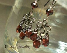 Garnet Chandelier Sterling Silver Earrings Wire by ElizasJewelry, $54.00