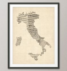 Old Sheet Music Map of Italy Map, Art Print 18x24 inch (907)  23.79  18x24 Frame and matte not included