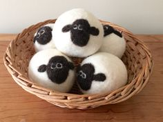 Wool Dryer Ball, Hand Felted, Extra Large Dryer Ball, Felted Sheep Face, Reduce Drying Time and Static, Eco Friendly, Chemical Free by PhoenixFarmFiber on Etsy