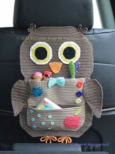 Distintascosasderegalo crochet owl car organizer