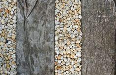 Pebbles between old wooden railway sleepers - for pathway to front door Timber Garden Edging, Patio Edging, Garden Paving, Garden Paths, Gravel Landscaping, Gravel Path, Sleepers In Garden, Pebble Garden, Wooden Walkways