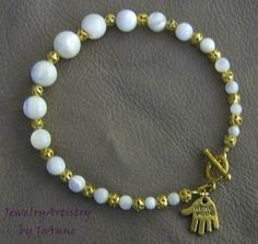 Handcrafted Vintage MOP & Gold Bracelet A by JewelryArtistry, $35.00