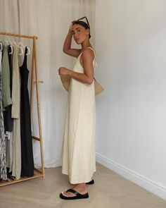"""Emily on Instagram: """"Whilst the sun is back.. wearing this gorgeous linen dress with a drop back from @hm 🌾 #hmxme"""" Fall Wardrobe, White Dress, Formal Dresses, Drop, Sun, How To Wear, Instagram, Style, Fashion"""