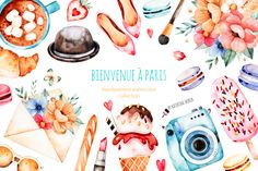 """""""Bienvenue à Paris""""high quality handpainted watercolor collection! Watercolor collection with47 separate elements(Eiffel Tower, bouquets, french sweets, cosmetics, camera, girl, shoes, baguette,bike,different cheeses,multicolored ballons,envelope, bags etc). This elements can be used as wedding invitations, patterns, blogs, greeting cards, photos, posters, quotes and also combine them to create own unique"""