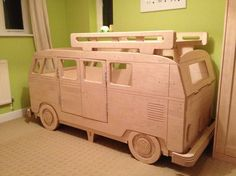 VW Camper single bed in situ by Fun Furniture Collection, Home of Luxury Handmade Theme Childrens Beds,Toy Boxes and Storage Vw Bus, Vw Camper, Camper Beds, Baby Bedroom, Kids Bedroom, Childrens Beds, Kids Corner, Cool Beds, Wood Toys