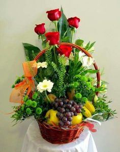 Fruit Flower Basket, Fruit Flowers, Fruit Hampers, Gift Hampers, Balloon Gift, Diwali Decorations, Fruit And Veg, Creative Gifts, Flower Designs