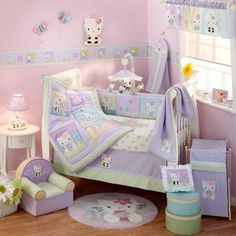"""$142.09-$169.99 Baby Lambs & Ivy 5 Piece Baby Crib Bedding Set, Hello Kitty and Friends - The comforter measures 35"""" by 435"""" The bumper is 10"""" high x 158"""" long, with single ties on each corner, and 5 sets of double ties along the top and bottom. The dust ruffle has a 15"""" drop, and the fitted sheet is designed to fit a standard size 28"""" x 52"""" crib mattress The diaper stacker measures 26"""" x 12"""", a ..."""