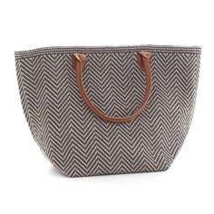 Fresh American | Fresh American Le Tote Graphite/Platinum  Tote Bag Moyen | Snappy style is in the bag! Our sweetly smart yet rough-and-tumble tote bags—made of durable polypropylene with leather handles—are an easy way to add pizazz to your favorite outfit. Available in three patterns and sizes.