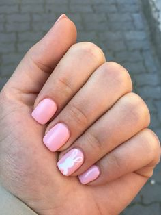 Pink nails with white bunny