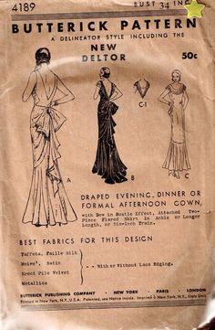"1930s- Butterick #4189- Vintage EVENING DRESS Pattern  - Size  34"" Bust sld 89+4 3bds 2/27/15"