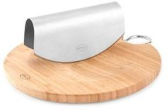 $89.99 - Rosle Rose Stainless Steel Mezzaluna Chopper with Bamboo Chopping Board - The Rose Mezzaluna Chopper with Bamboo Chopping Board combines a highly-capable chopping knife with a with a convenient cutting surface. The unique chopper features an ergonomic form with two sharp blades and the cutting surface is made of durable bamboo.