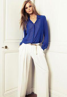 summery white wide-leg pants