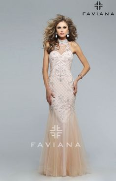 Faviana S7732 is made for the ultimate embellishment lover! This tulle dress is anything but simplistic, and will surely get a conversation started. The fully beaded jewel neck is the only accessory you need. The back of this fabulous dress is completely cut out and low, giving you the ultimate amount of sex appeal. The skirt features godets, which will have you twirling on the dance floor with grace. Accessories are optional while donning this look, but if you must accessorize, opt for…