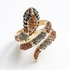 Jennifer Lopez Simulated Crystal Snake Ring ($20) ❤ liked on Polyvore