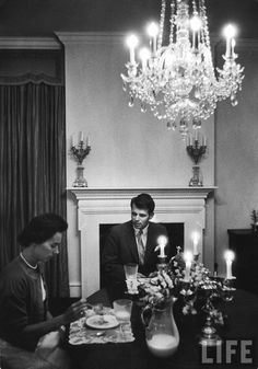 At the dinner table with wife Ethel, 1957 (Life photoshoot)