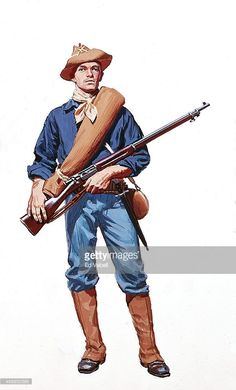 In Beheld, Kendra spends centuries searching for her beloved James. He is often at war, and the first time she sees him, he wears this uniform.  A painting depicting a U.S. Army Spanish American War period Infantry soldier's Uniform and weapons circa 1898.