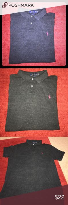 Polo by Ralph Lauren SS sz XXL charcoal polo Polo by Ralph Lauren short sleeve polo. Size XXL and dark charcoal in color.  This shirt is in excellent condition with no holes or stains.  Smoke free home. Thanks! Polo by Ralph Lauren Shirts Polos