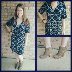 Oh goodness!! We love our Viereck shift dresses and we are DYING over this navy/taupe print called the Twain and it goes perfectly back to our taupe boots! Available XS-XL $108
