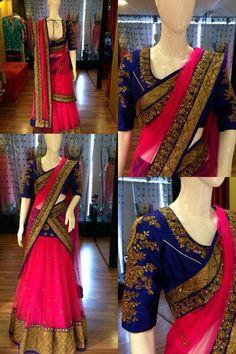 Pink and royal blue saree