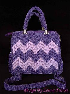 Chevron roxo Crochet 2 faixa de pega roxo malas Bolsa Roxo Roxo bolsas Tote roxo Bolsas bonito (N16)