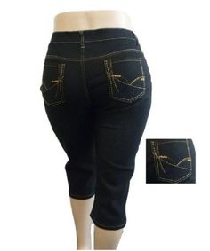 a8933040881  15.99 NEW 1826 DARK BLUE DENIM CAPRI JEANS HIGH WAIST WOMENS PLUS SIZE  SIZE 14-16-18-20-22