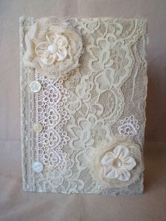Lace Journal Diary Notebook Handmade Ribbon Flowers by ShabbySoul