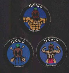 NA'ALII POGS (Worlds of Fun, BENJY, 1993): Smooth surface, Lot of 3 different, Hawaiian Warrior. All for $1
