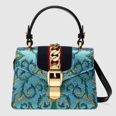 Gucci turquoise brocade