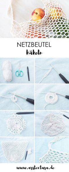 Häkeln Anleitung: Netzbeutel häkeln - mit Schritt für Schritt Anleitung - einfacher Luftmaschenbeutel als Einkaufstasche selber machen Filet Crochet, Diy Tricot Crochet, Bag Crochet, Crochet Chain, Crochet Motifs, Crochet Blanket Patterns, Knitting Patterns, Knit Bag, Crochet Scrubbies