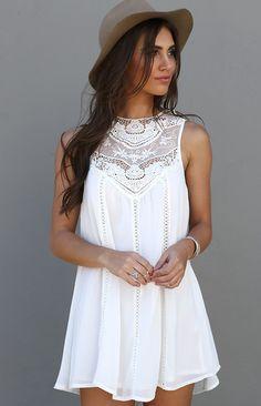 Sweet And Innocent Dress - sleeveless lace, white chiffon dress