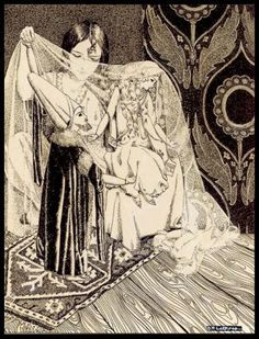 """""""He raised the veil and gazed upon her countenance for the first time Manuscript"""". It appeared as a full page illustration issue of Asia Magazine: 'The Lady of the Stars'"""