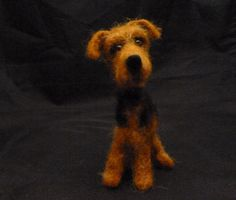 Needle Felted Airedale Dog from sendsunshine Etsy shop. Too cute!!!!