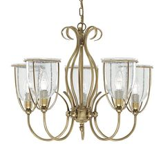 This high quality fitting comes in an antique brass finish with clear seeded glass shades.